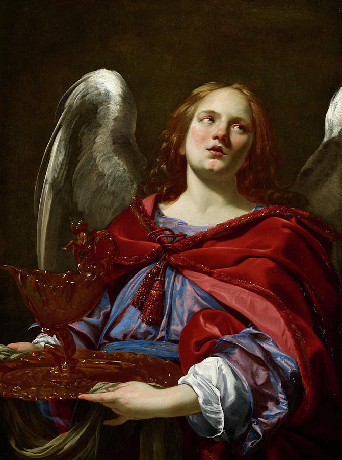 Simon Vouet Painting - Angel Holding The Vessel And Towel For Washing The Hands Of Pontius Pilate, 1627 by Simon Vouet