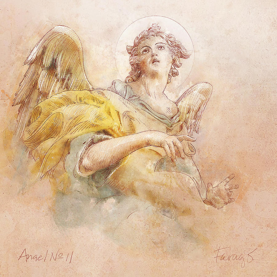 Angel Drawing - Angel No 11a by Peter Farago