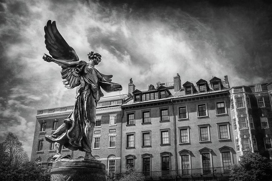Boston Photograph - Angel Of Boston Black And White by Carol Japp