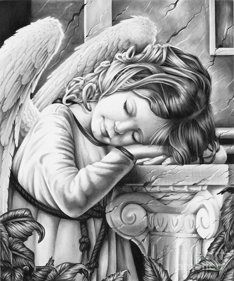 Angel Sleeping Drawing by Ross Coleman