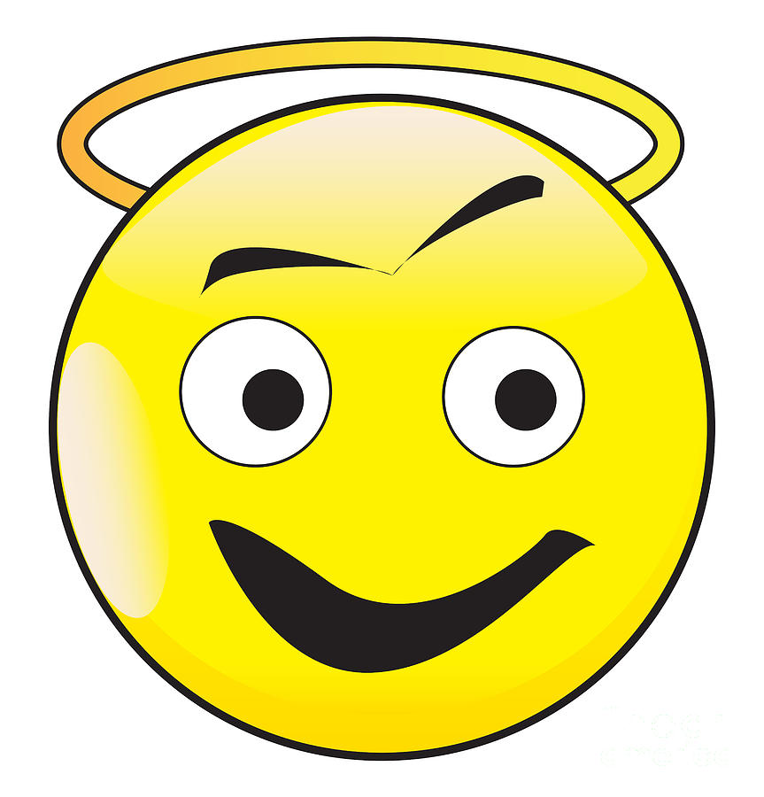 Angel Smile Face Button Emoticon by Bigalbaloo Stock