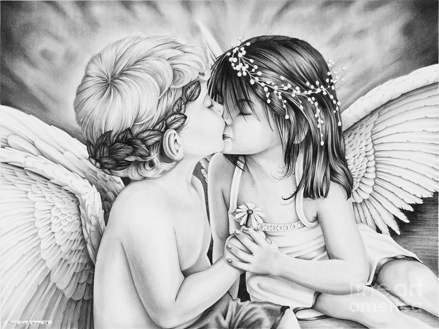 Angels Kissing Drawing by Ross Coleman