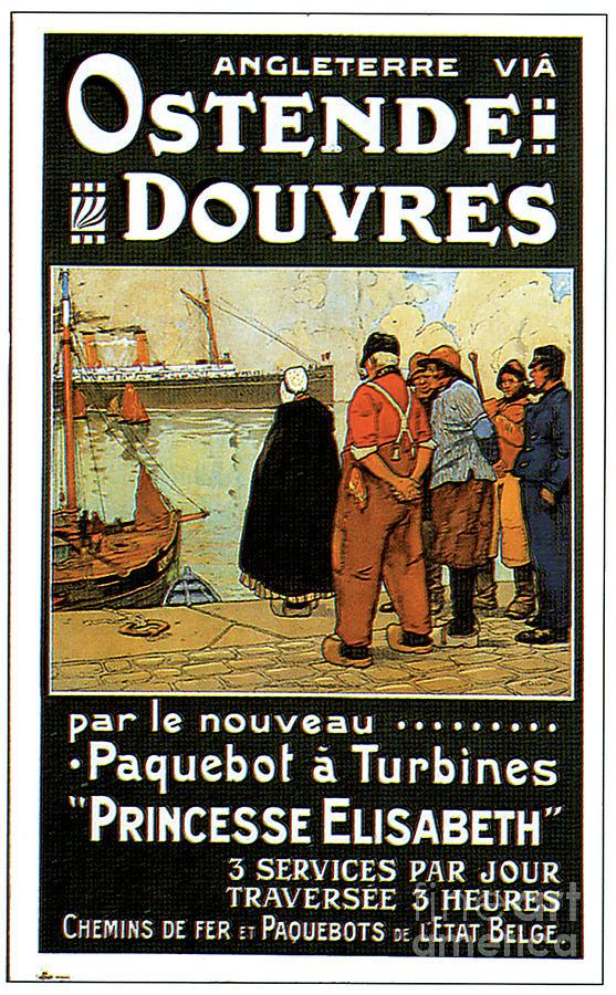 Angleterre Via Ostende Douvres Par Le Nouveau Paquebot  A Turbines Princisse Elisabeth 3 Services Pa Painting