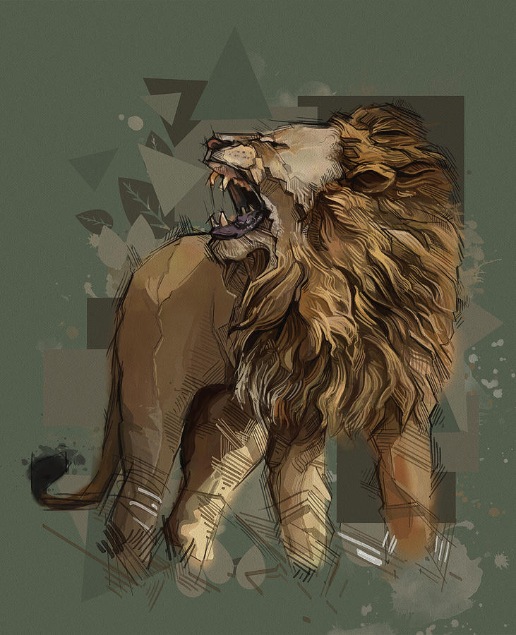Angry Lion Vintage V2 Digital Art