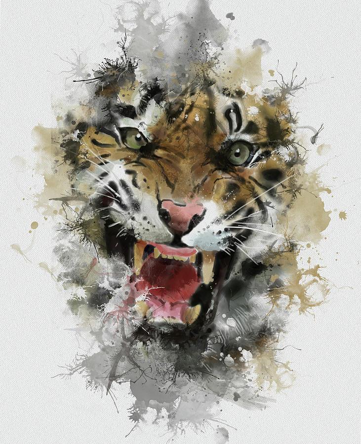 Angry Tiger Abstract Digital Art