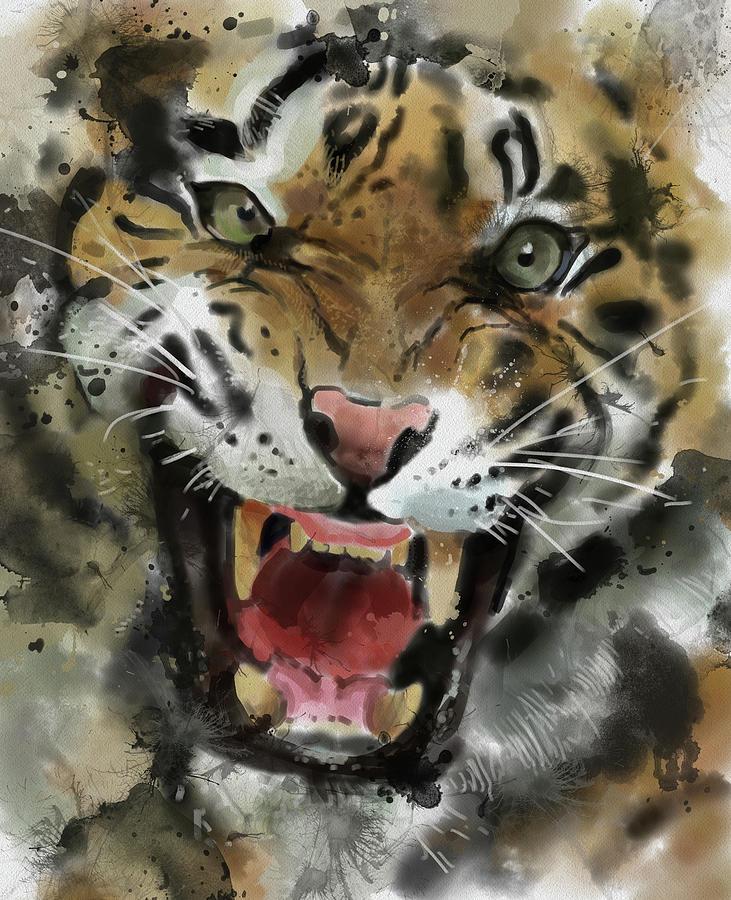 Angry Tiger Close Up Digital Art