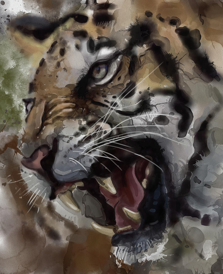 Angry Tiger Vintage Digital Art
