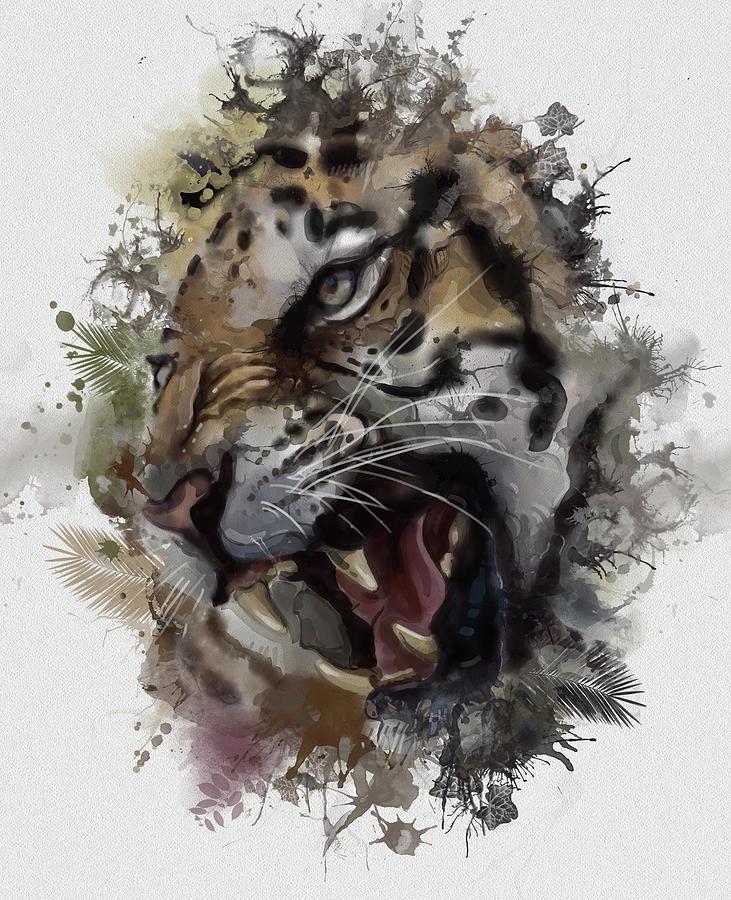 Angry Tiger Vintage V2 Digital Art