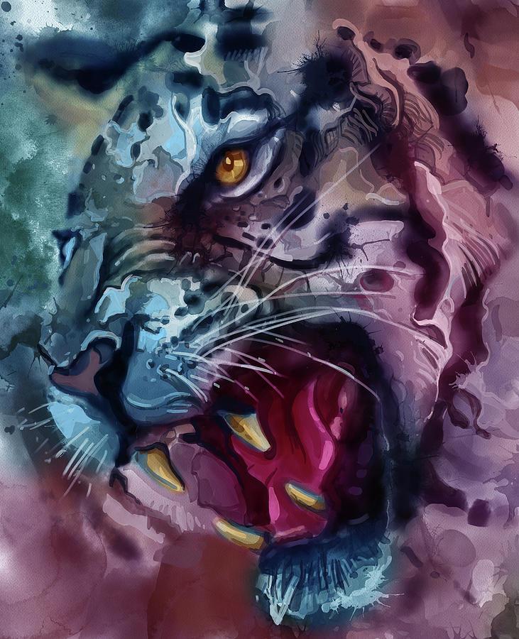 Angry Tiger Vintage V3 Digital Art