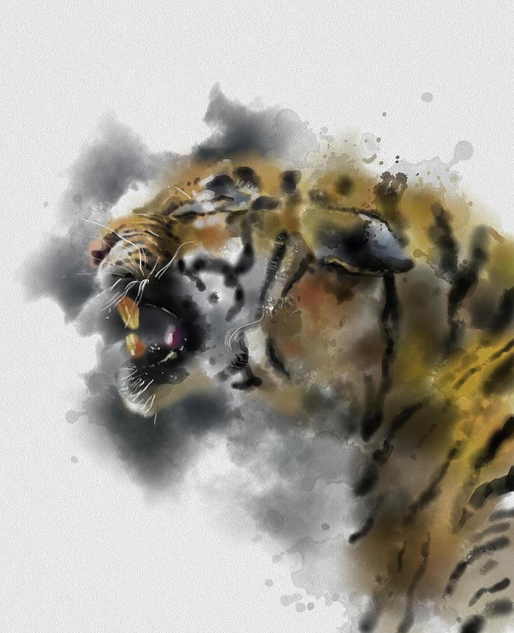 Angry Tiger Watercolor Digital Art