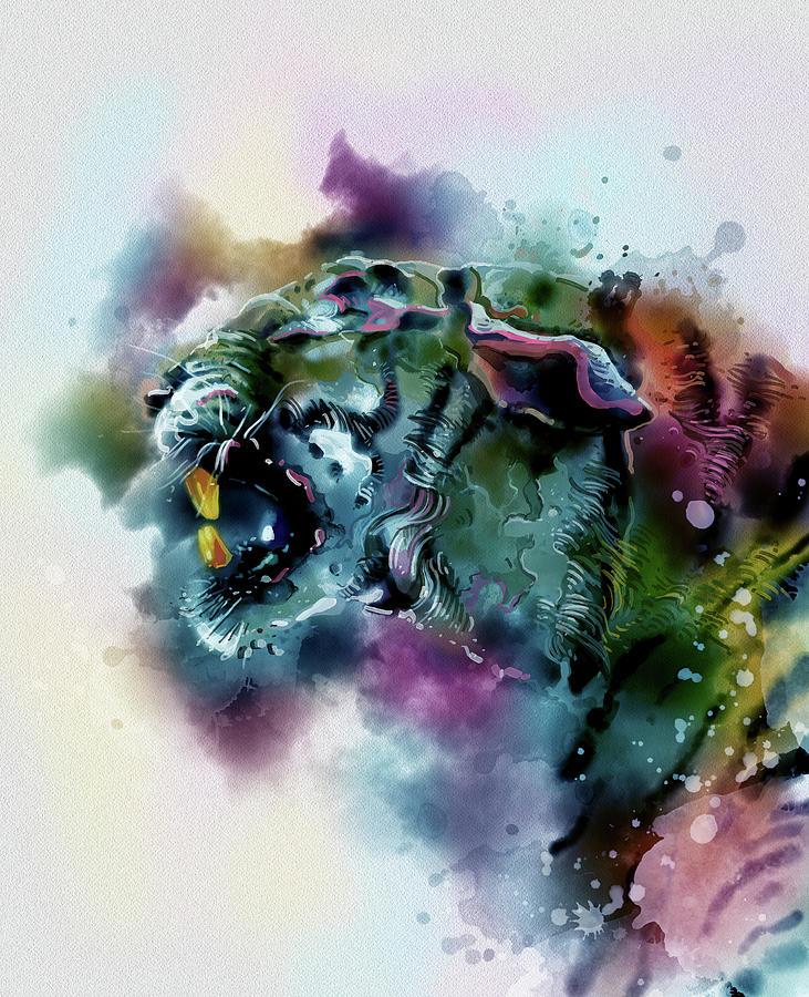 Angry Tiger Watercolor V2 Digital Art