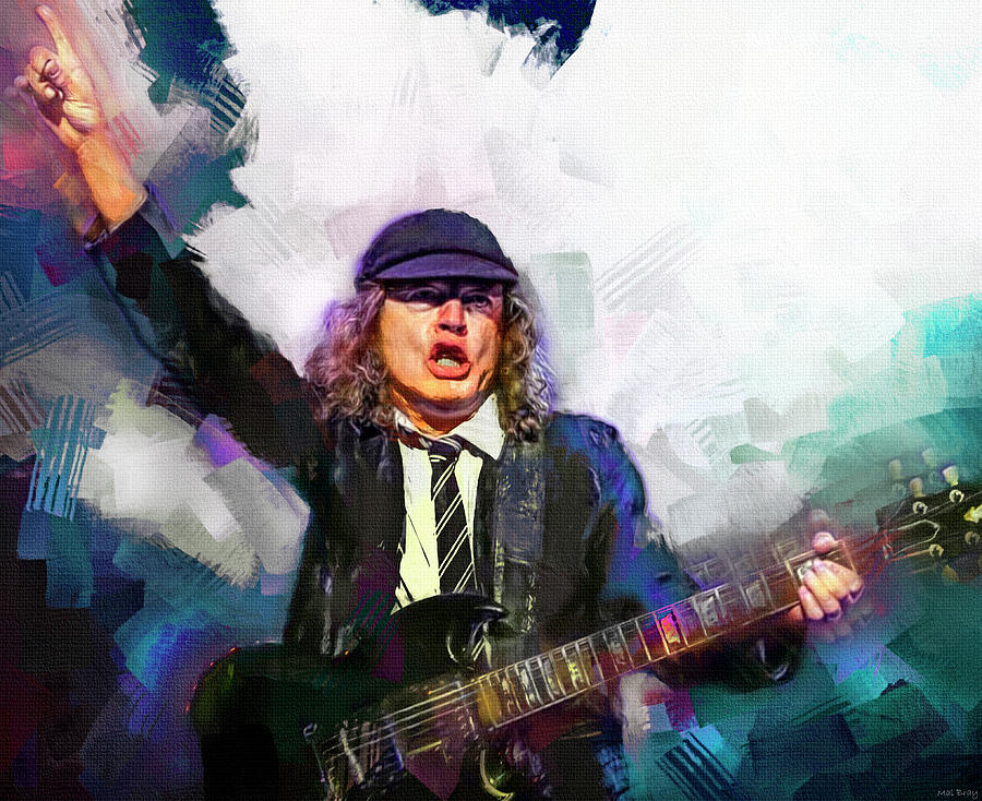 Ac Dc Mixed Media - Angus Young  Guitar Player AC/DC by Mal Bray