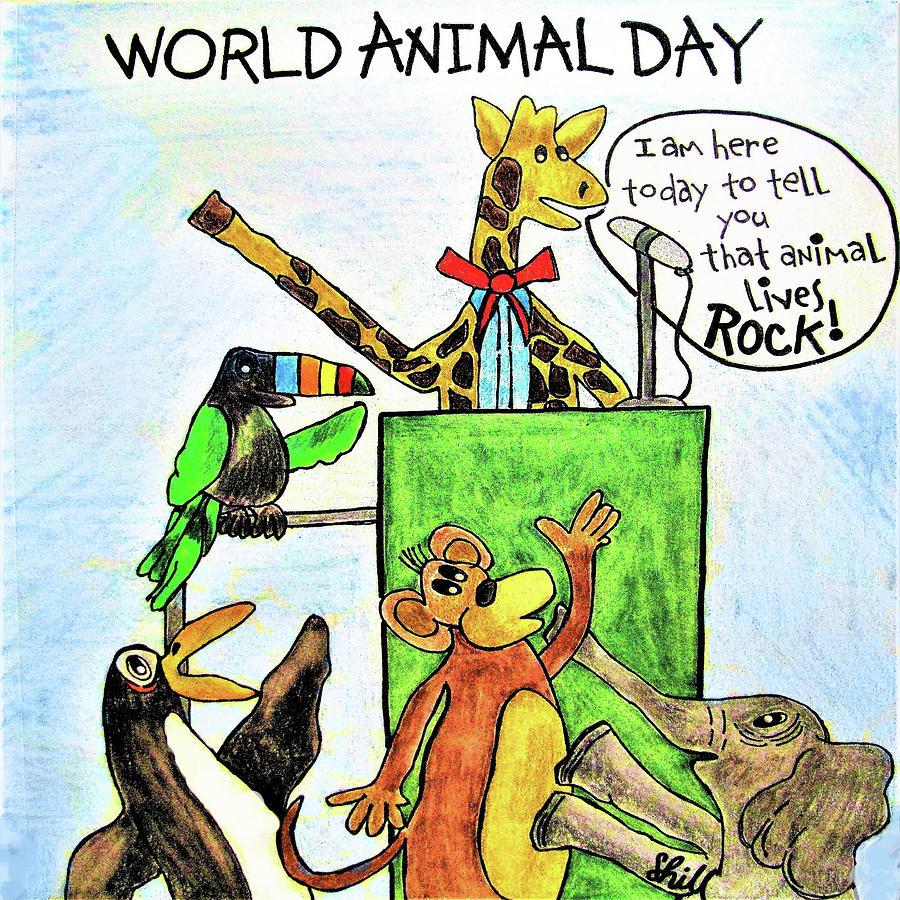 Animal Lives Rock Drawing