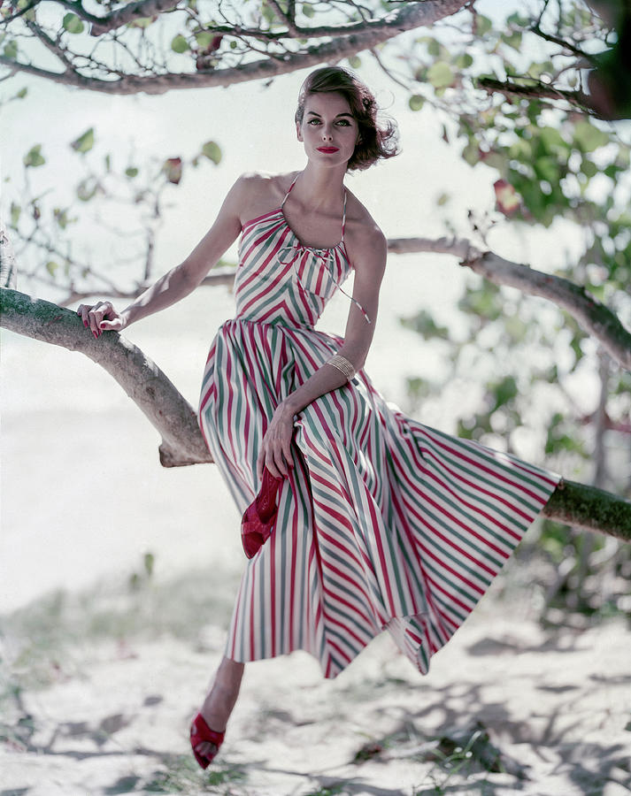 Anne St. Marie in a Striped Sundress Photograph by Roger Prigent