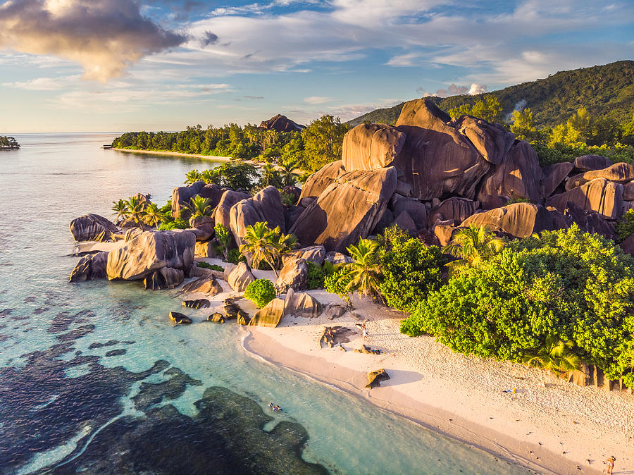 Anse Source dArgent taken at sunset from a drone Photograph by © Frédéric Collin