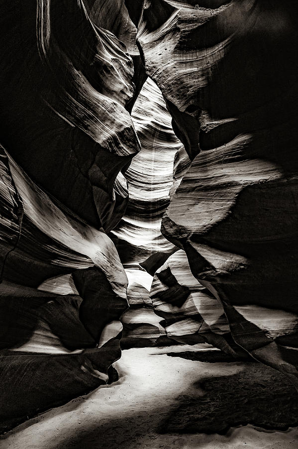 Antelope Canyon Inner Sanctum - Sepia Monochrome Photograph