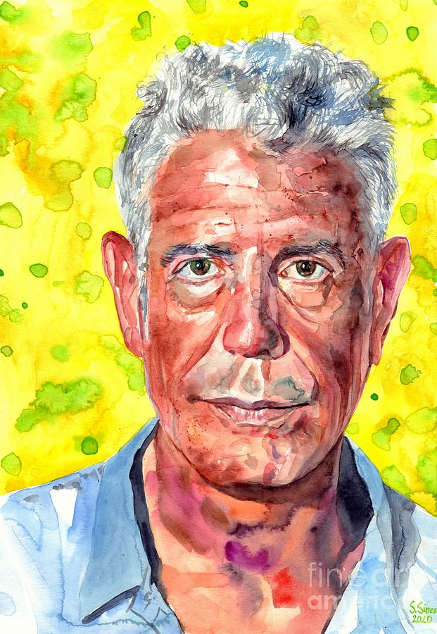 Anthony Bourdain Painting - Anthony Bourdain Portrait by Suzann Sines