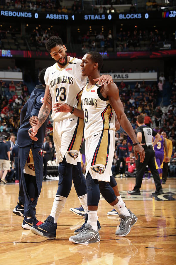 Anthony Davis and Rajon Rondo Photograph by Layne Murdoch