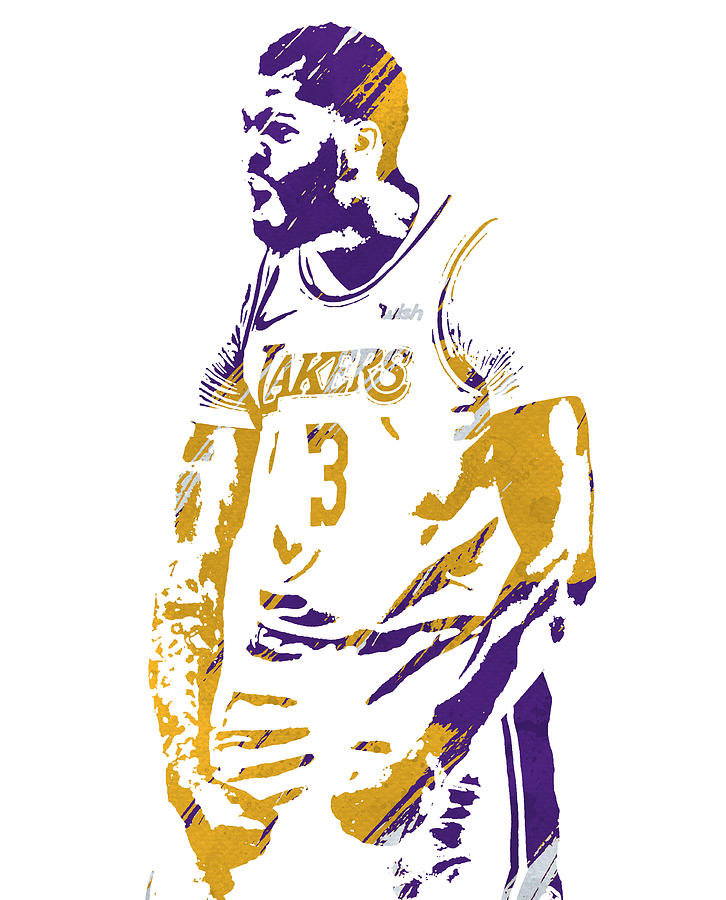 ANTHONY DAVIS LOS ANGELES LAKERS WATERCOLOR STROKES PIXEL ART 1 by Joe Hamilton