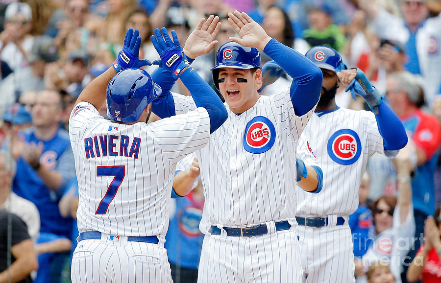 Anthony Rizzo And Rene Rivera Photograph by Jon Durr