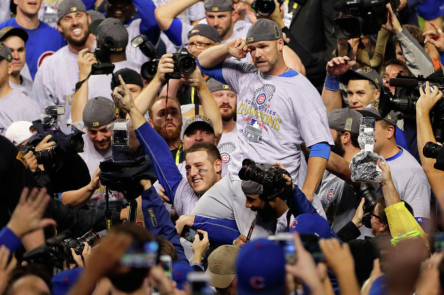 Anthony Rizzo, David Ross, and Jason Heyward Photograph by Jamie Squire