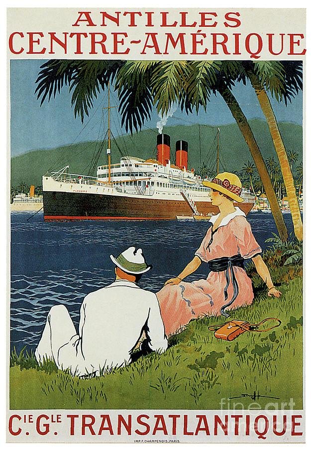 Antilles Centre-amerique Cie Gle Transatlantique Travel Poster Painting
