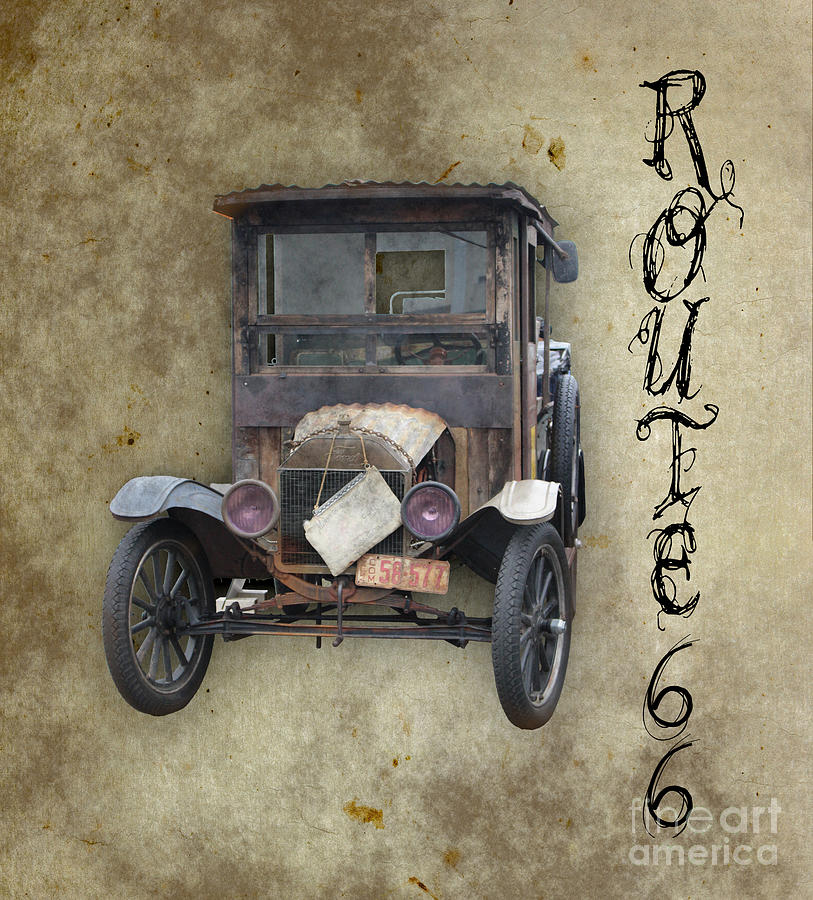Black Car Photograph - Antique Automobile and Old Route 66 by Colleen Cornelius