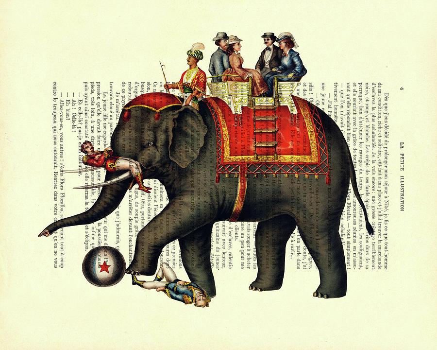 Elephant Mixed Media - Antique Circus Scene by Madame Memento