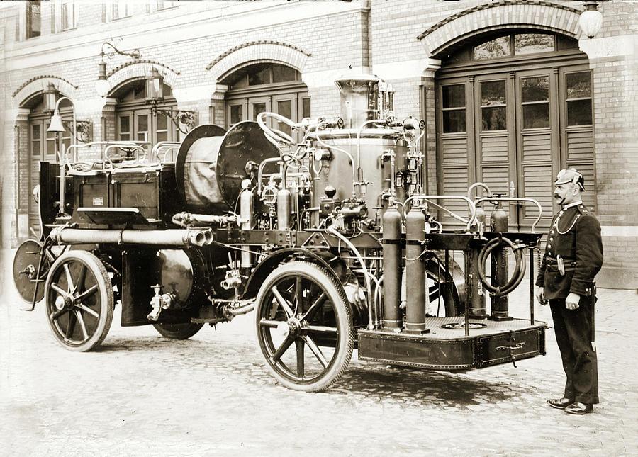 Antique German Fire Truck by Carlos Diaz