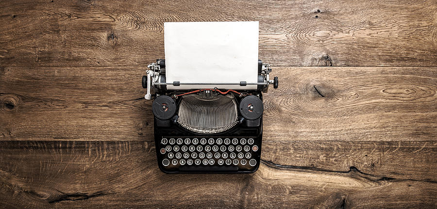 Antique typewriter grungy textured paper wooden background Photograph by LiliGraphie