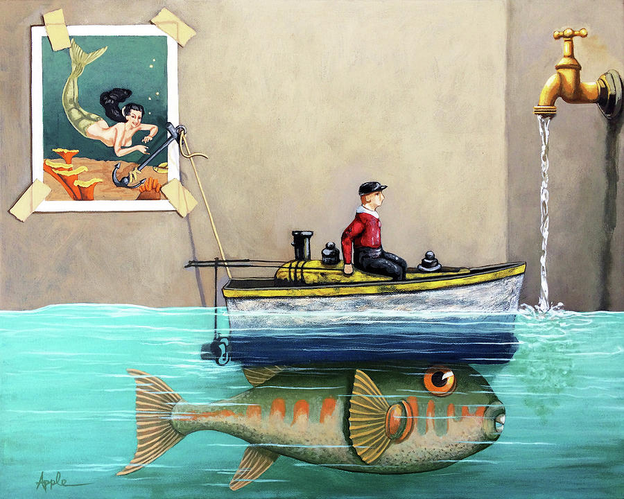 Fisherman Painting - Anyfin Is Possible - Fisherman toy boat and Mermaid still life painting by Linda Apple