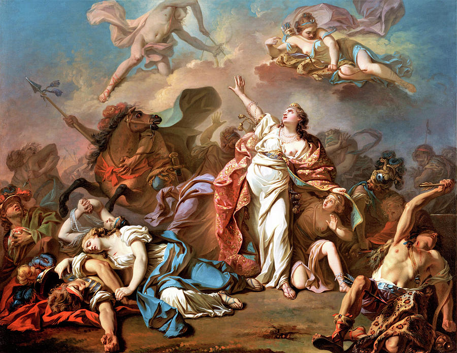 Jacques-louis David Painting - Apollo And Diana Attacking The Children Of Niobe - Digital Remastered Edition by Jacques-Louis David