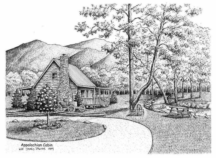 Cabin Drawing - Appalachian Cabin by Lee Pantas