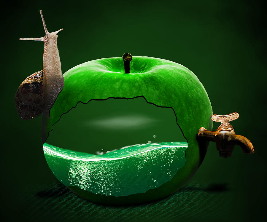 Apple Snail And Faucet Surreal Digital Art