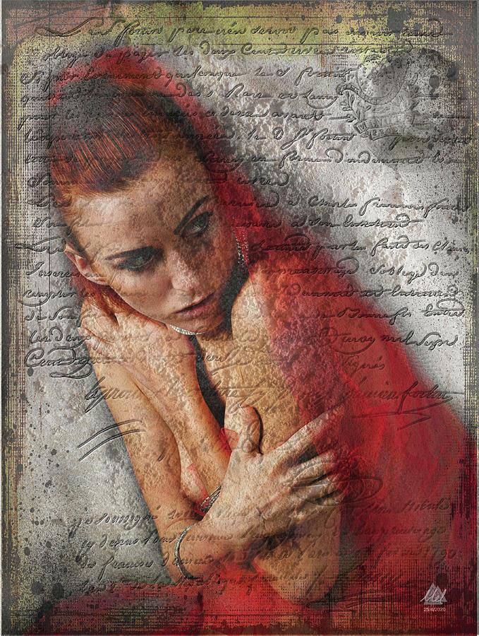 A Semi Nude Woman Looking Apprehensive. Digital Art