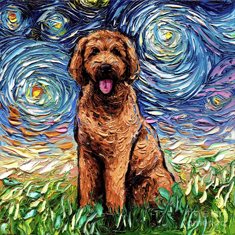 Apricot Painting - Apricot Goldendoodle by Aja Trier