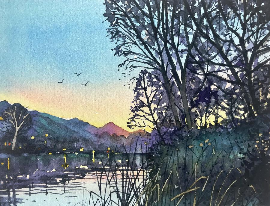 April Dusk Malibou Lake Painting