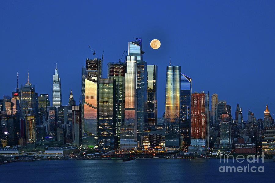 April Moonrise Over Manhattan Photograph