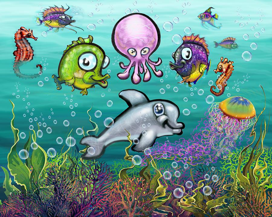 Aqua Babies Digital Art