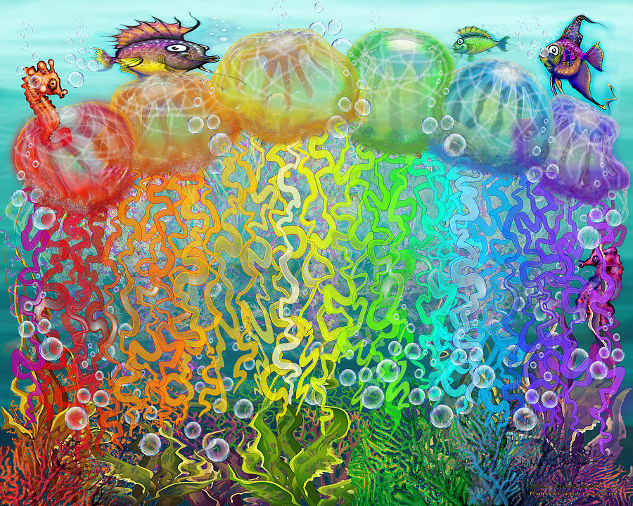 Aqua Jellyfish Rainbow Fantasy Digital Art