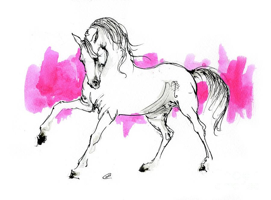 Arabian horse ink drawing 2019 12 03 by Angel Ciesniarska