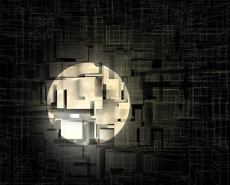 Architectural Moon Light Digital Art