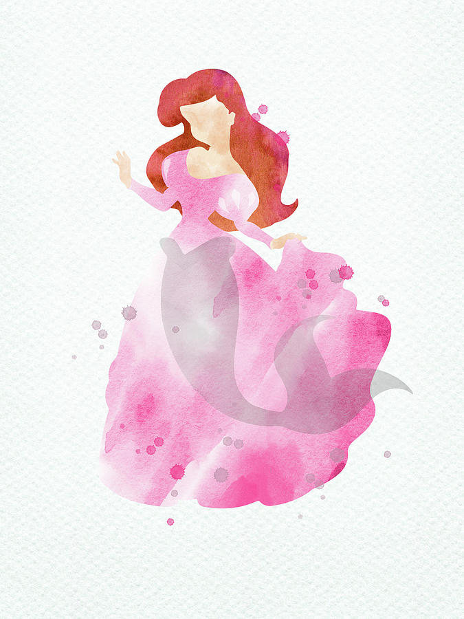 Ariel Pink Dress Watercolor Digital Art By Mihaela Pater