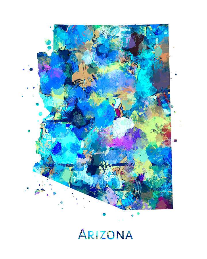 Arizona Painting - Arizona Map Art by Zuzi s