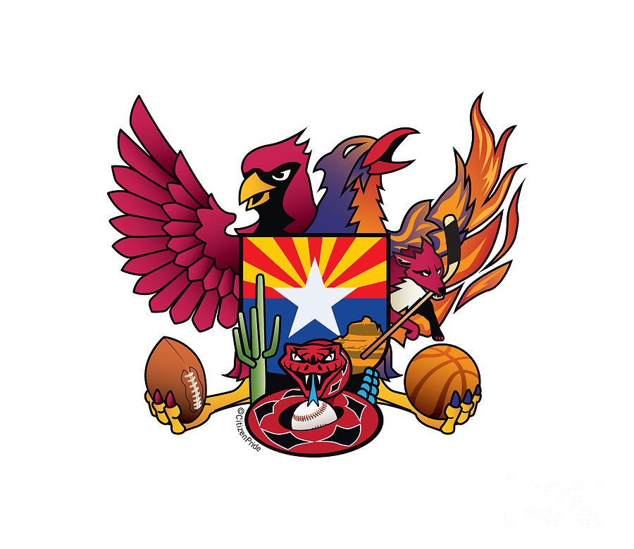 Arizona Digital Art - Arizona Sports Fan Crest by Joe Barsin