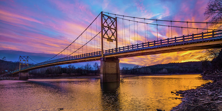 America Photograph - Arkansas Little Golden Gate Bridge At Sunset Panorama by Gregory Ballos