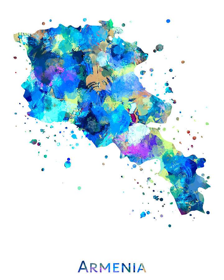 Armenia Painting - Armenia Map Art by Zuzi s