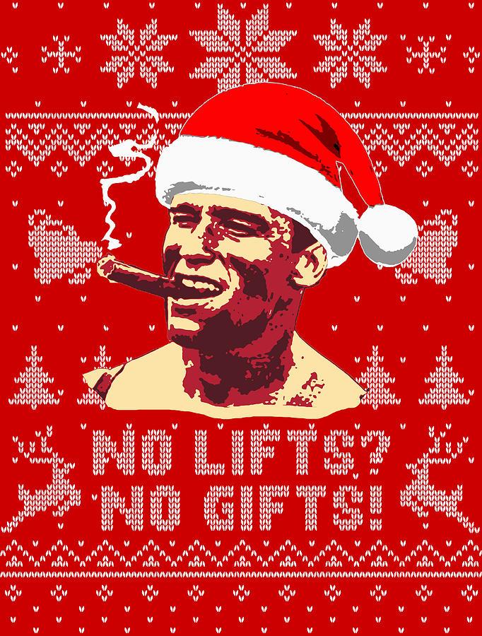 Santa Digital Art - Arnold Schwarzenegger No Lifts No Gifts by Filip Schpindel