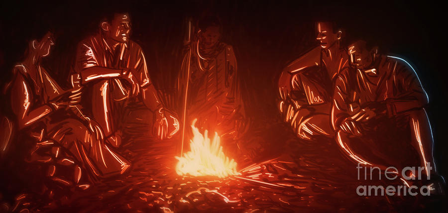 Fire Digital Art - Art - Around the Campfire by Matthias Zegveld