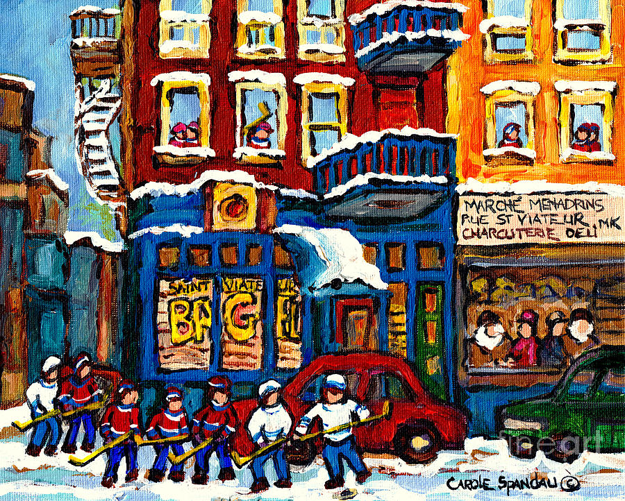 ART COLLECTORS MONTREAL LANDMARKS ST VIATEUR BAGEL HOCKEY PAINTINGS C SPANDAU CANADIAN WINTER SCENES by CAROLE SPANDAU